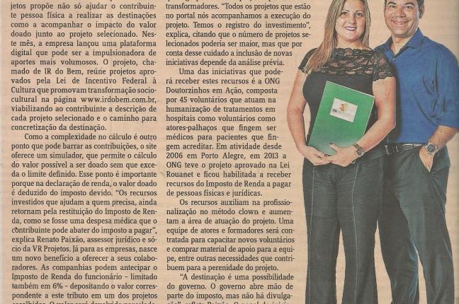 Fonte: Jornal do Comércio, no dia 13 de maio de 2015, pag. 4 e 5 do caderno de contabilidade.
